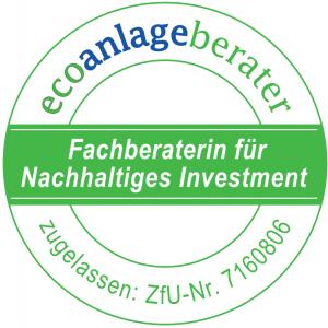 Als zertifizierte Ecoanlageberaterin berate ich Sie zu nachhaltigen Vermögensanlagen.